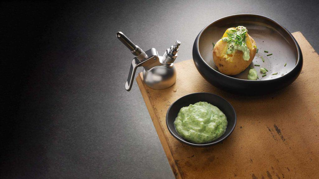 jacket potato with a chive mousse