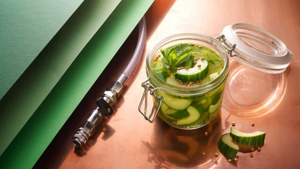 Rapid infusion pickled cucumber